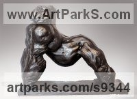 Bronze African Animal and Wildlife sculpture by Jean Baptiste Vendamme titled: 'Silverback'