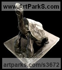 Bronze Wild Animals and Wild Life sculpture by Jean Baptiste Vendamme titled: 'Tortoise (life size Tortoise sculptures)'