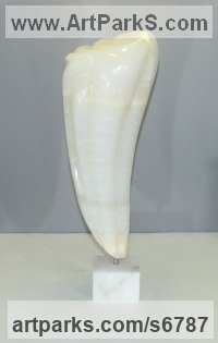 Onyx Carved Stone, Marble, Alabaster, Soap Stone Granite Lime stone sculpture by sculptor Jef Geerts titled: 'Onyx 2 (Tooth Shaped abstract Contemporary Indoor sculpture Carving)'