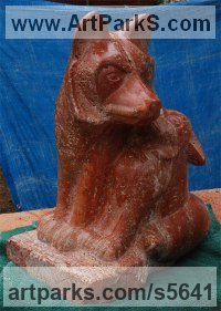Persian Red Travertine Angel sculpture by sculptor Jeff Birchill titled: 'Mother Fox with Pup'