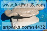 Tennesse Marble and Limestone Carved Stone, Marble, Alabaster, Soap Stone Granite Lime stone sculpture by Jeff Birchill titled: 'The Glide - (Swimming SeaTurtle carved stone statue)'