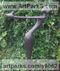 Bronze Abstract Contemporary or Modern Outdoor Outside Exterior Garden / Yard Sculptures Statues statuary sculpture by Jennifer Watt titled: '` Girl with Dove` [3080]'