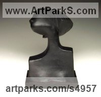 Cast in Slate Resin on Slate base Females Women Girls Ladies Sculptures Statues statuettes figurines sculpture by Jennifer Watt titled: 'Kiya (abstract Small Bust of a Young Woman statues)'