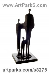 Cast Slate Resin Couples or Group sculpture by Jennifer Watt titled: 'Progeny (Small abstract Modern Indoor Family statue)'