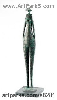 Bronze Resin Human Figurative sculpture by Jennifer Watt titled: 'Sunseeker (Contemporary standing female sculpture)'