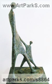 Bronze resin Parent - Child sculpture by Jennifer Watt titled: '`The Walk`'