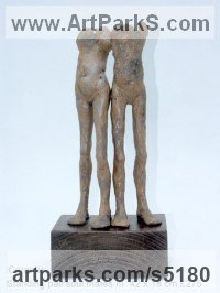 Ceramic Stylized People sculpture by Jenny Eaton titled: 'Standing pair Soul Mates III (ceramic statuettes abstract contemporary)'