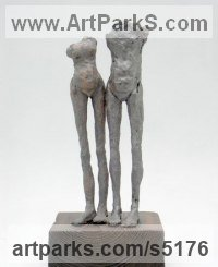 Ceramic Sculptures of females by Jenny Eaton titled: 'Standing Pair Soul Mates V (ceramic Small/Little Torso statuettes)'