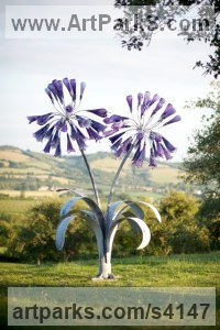 Forged Steel and Blown Glass Outsize Big Large Fruit Flower Plant sculpture statue statuaryGarden Ornament sculpture by Jenny Pickford titled: 'Agapanthus Flowers (Giant Blue Glass Yard statues)'
