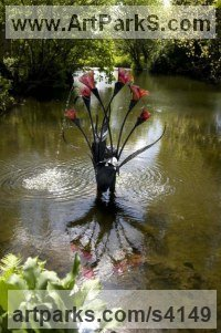 Forged steel and Blown Glass Water Features, Fountains and Cascades sculpture by Jenny Pickford titled: 'Arum Lilly (Glass and Steel garden/Yard Fountains)'