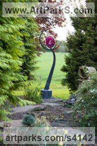 Galvanised Steel and Blown Glass Glass or Acrylic Transparant sculpture by Jenny Pickford titled: 'Hope (Big Glass abstract Flower garden/Yard statue)'