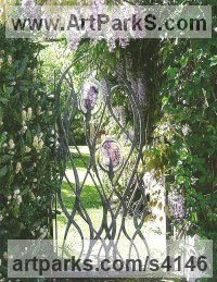 Forged Steel and Blown Glass Glass or Acrylic Transparant sculpture by Jenny Pickford titled: 'Wisteria Gate (Outside garden/Yard statues/sculpture)'