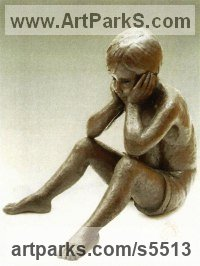 Bronze Resin Children Child Babies Infants Toddlers Kids Sculptures Statues statuettes figurines sculpture by Jenny Wynne Jones titled: 'Ben (life size Young Boy Sitting Thinking statues)'
