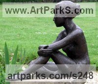 Bronze Resin Human Figurative sculpture by Jenny Wynne Jones titled: 'Rosetta (Girl Thinking Seated sculptures/statue)'