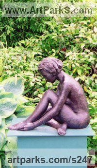 Copper Resin Teenagers sculpturettes Portraits figurines commissions etc sculpture by sculptor Jenny Wynne Jones titled: 'Sophie (nude Girl Sitting Outside Outdoor statues)'