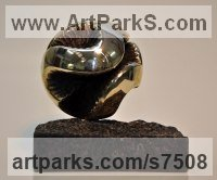 Bronze and granite Spherical Globe like Ball shaped Round Abstract Contemporary sculpture statue statuette sculpture by Jens Ingvard Hansen titled: 'Room in the Heart (Small abstract Round statuette)'