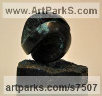 Bronze and granite Mythical sculpture by Jens Ingvard Hansen titled: 'Wheel of Life II (bronze little abstract Modern Round Globe statuette)'