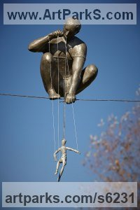 Cold cast bronze, aluminium Circus / Stage Performer Sculptures or Statues sculpture by Jerzy Kędziora titled: 'The Puppeteer (High Wire Balancing statue sculpture)'