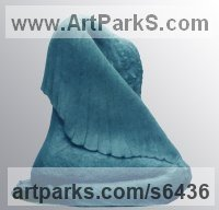 Bronze Figurative Abstract Modern or Contemporary Sculptures Statues statuary statuettes figurines sculpture by Jianyong Guo titled: 'Crying Angel (Weeping Sad bronze Modern Semi abstract Winged sculpture)'