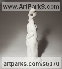 Porcelain Figurative Abstract Modern or Contemporary Sculptures Statues statuary statuettes figurines sculpture by Jianyong Guo titled: 'Love (ceramic Entwined Young Romantic Lovers Semi abstract statuette)'