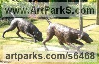 Bronze Dog sculpture by Jill Tweed titled: 'Fox Hounds (bronze Life-size outdoor outside sculptures statues)'