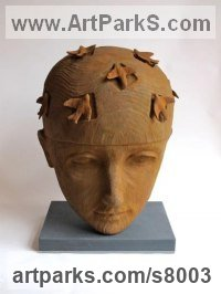Iron-stone resin Stylised Heads / Busts sculpture by Jilly Sutton titled: 'Flight of Fancy (Iron- stone resin) [1]'