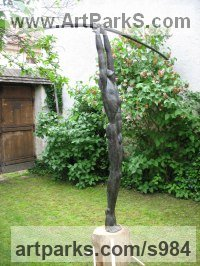 Bronze Sign of the Zodiac sculpture by Jiř� Net�k titled: 'Archer (Naked nude bronze Standing Bowman garden statue)'