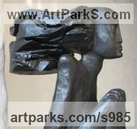 Bronze Nudes, Female sculpture by Jiř� Net�k titled: 'Egyptian (Bronze Stylised nude Woman Sitting Yard statue)'