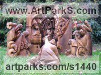 Wood - walnut Nativity Scene Sculptures carvings statuettes statuary sculpture by sculptor Jiří Netík titled: 'Nativity Scene (Carved Wood Large Big sculptures Carvings)'
