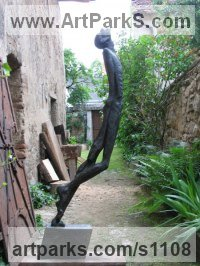 Bronze Human Form: Abstract sculpture by Jiří Netík titled: 'Poet (Bronze Thin abstract Stylised Male garden statue)'