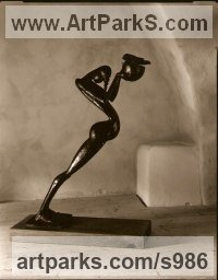 Bronze Stylised Nude sculpturette ornament sculpture by sculptor Jiří Netík titled: 'Sacrifice (Stylised nude and Bowl Indoor/Outside statue)'
