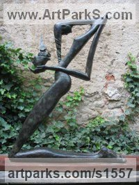 Bronze Nudes, Female sculpture by Jiř� Net�k titled: 'Sacrifice II (Humble Kneeling female Stylised statues)'