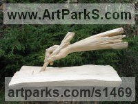 Carved Wood - Lime tree /linde/ Anatomy, Hands and Feet sculpture by Jiř� Net�k titled: 'Scribe (Hand Carved Wooden Arm and Quill Pen statue carving statuette)'
