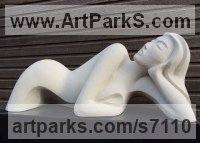 Handmade marble / mineral stone Arte Deco style Abstract Stylised Contemporary Modern sculpture by Jo Ansell titled: 'Irisha (Young female Lying Prone Carved stone Modern sculpture)'