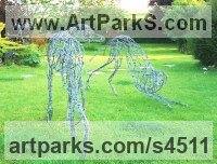 Barbed Wire and Steel frame Dogs sculpture by sculptor Jo Burchell titled: 'Aristocrat (Wire life size Greyhound sculpture)'