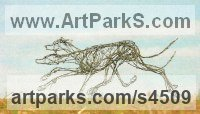 Barbed Wire and Steel Dogs sculpture by sculptor Jo Burchell titled: 'Racing Lurchers (Metal Wire life size Running sculpture)'