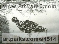 Barbed wire, Copper and Galvanized wire Varietal Mix of Bird Sculptures or sculpture by sculptor Jo Burchell titled: 'Watching Hawk 2 (fabricated Wire Raptor Bird of Prey sculpturette)'
