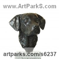 Bronze Dogs sculpture by JOEL Walker titled: 'Devotion (Bronze Working Labrador Puooy Head statues)'
