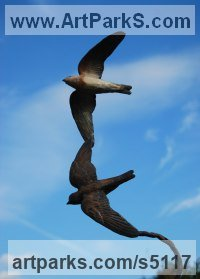 Bronze Hyperrealistic sculpture by JOEL Walker titled: 'Flight of Air (Bronze Flying Sand Martins sculptures)'