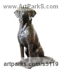 Bronze Dogs sculpture by JOEL Walker titled: 'Great Loyalty (Bronze Labrador Dog sculptures statue)'