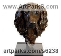 Bronze Dogs sculpture by JOEL Walker titled: 'Lovely Friend (Bronze Cocker Spaniel Bust/Head statue)'