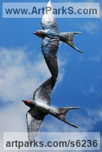 Bronze Metal Wild Bird sculpture by JOEL Walker titled: 'Summer Flight Simply Together (bronze swallows sculptures/ststues)'