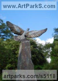 Bronze on Riven slate Obelisc Wild Bird sculpture by JOEL Walker titled: 'Turtle Dove (Bronze life size Coloured Flying statues)'