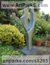 Bronze Resin Couples or Group sculpture by John Brown titled: '`Amour VI` (abstract Couple Lovers garden sculpture)'