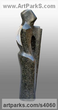 Soapstone Couples or Group sculpture by sculptor John Brown titled: 'Anticipation (Carved Stone abstract figurative sculpture)'