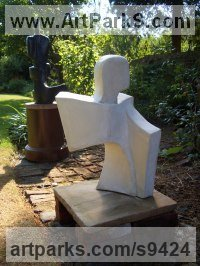 Reconstituted Bath Stone Human Form: Abstract sculpture by John Brown titled: 'Ascent'