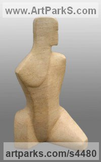 Ancaster Stone Abstract Modern Contemporary Sculptures Statues statuettes figurines statuary sculpture by John Brown titled: 'Attention ll (Small abstract Carved stone Torso statue)'