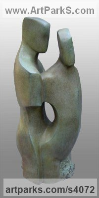 Bronze Resin Love / Affection sculpture by sculptor John Brown titled: 'Constancy (abstract Fgurative CoupleFaithful statue)'