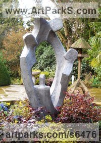 Aluminium Resin Family Groups sculpture by John Brown titled: 'Family Circle (garden/Yard Three Generations sculpture)'