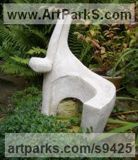 Reconstituted Bath Stone Abstract Contemporary or Modern Outdoor Outside Exterior Garden / Yard Sculptures Statues statuary sculpture by John Brown titled: 'Gymnast'